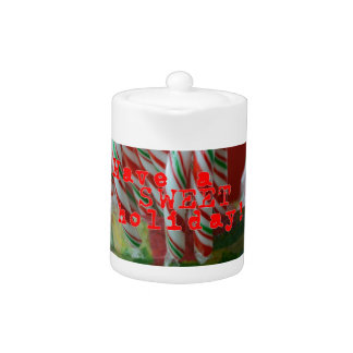 Candy Cane Holiday Greetings Teapot