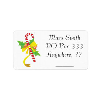 Candy Cane Holly Address Labels