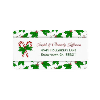 Candy Cane & Holly Address Labels