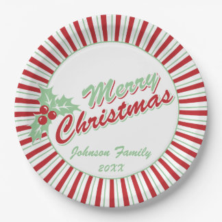 Candy Cane Holly | Custom Christmas Paper Plates 9 Inch Paper Plate