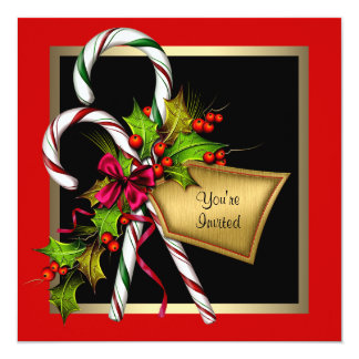 Candy Cane Holly Red Christmas Party 5.25x5.25 Square Paper Invitation Card