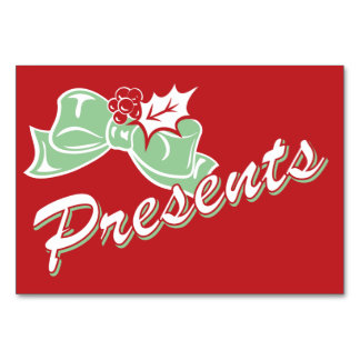 Candy Cane Holly | Retro Presents Table Card 3 x 5
