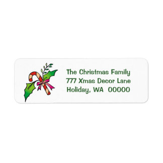 Candy Cane Holly Return Address Holiday Christmas Label