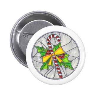Candy Cane & Holly Stained Glass Pins