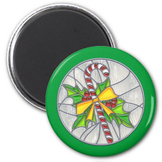 Candy Cane & Holly Stained Glass Refrigerator Magnet