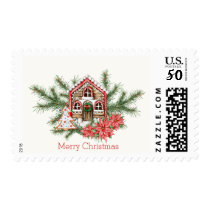 Candy cane house, gingerbread tree, poinsettia postage
