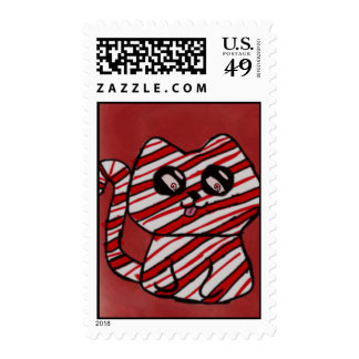 Candy Cane Kitty Postage Stamp