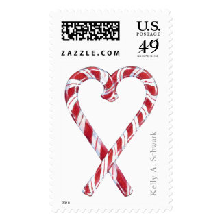Candy Cane Love Postage Stamp