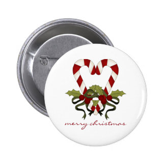 Candy Cane Merry Christmas Heart Button