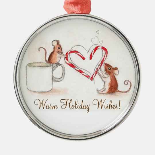 Candy Cane Mice Metal Ornament