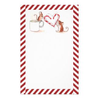 Candy Cane Mice Stationery