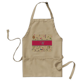 Candy Cane Monogram Hot Pink Diamond Initial Adult Apron