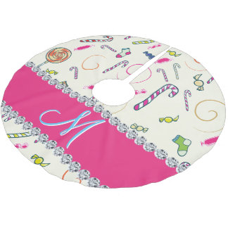 candy cane monogram hot pink diamond initial brushed polyester tree skirt - Hot Pink Christmas Tree