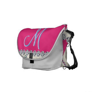 Candy Cane Monogram Hot Pink Diamond Initial Courier Bag