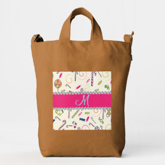 Candy Cane Monogram Hot Pink Diamond Initial Duck Bag