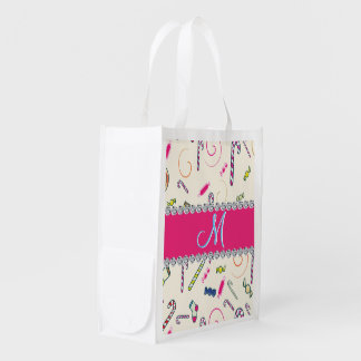 Candy Cane Monogram Hot Pink Diamond Initial Grocery Bag