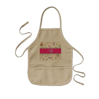 Candy Cane Monogram Hot Pink Diamond Initial Kids' Apron
