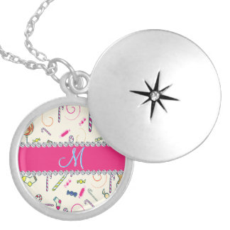 Candy Cane Monogram Hot Pink Diamond Initial Silver Plated Necklace