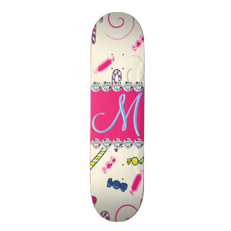 Candy Cane Monogram Hot Pink Diamond Initial Skateboard Deck