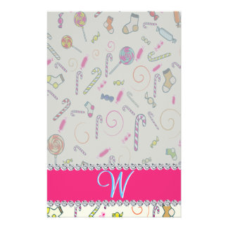 Candy Cane Monogram Hot Pink Diamond Initial Stationery
