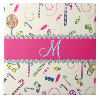 Candy Cane Monogram Hot Pink Diamond Initial Tile