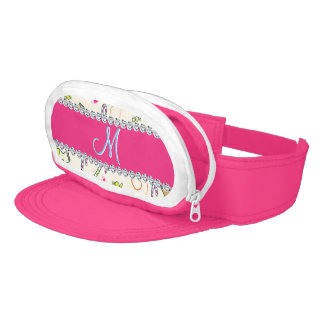 Candy Cane Monogram Hot Pink Diamond Initial Visor