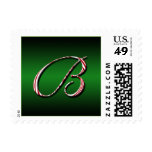 Candy Cane Monogram Letter B Postage