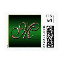 Candy Cane Monogram M Christmas Holidays Xmas Postage