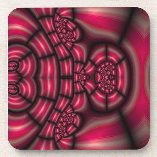 Candy Cane Mosaic Fractal Drink Coaster