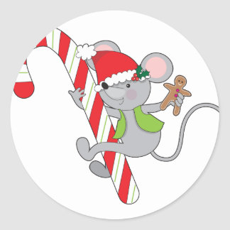 Candy Cane Mouse Classic Round Sticker