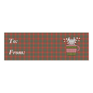 candy cane mouse in cup business card