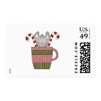 candy cane mouse in cup postage