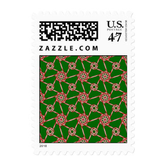 Candy Cane Octa Lattice Sm Any Color Postage