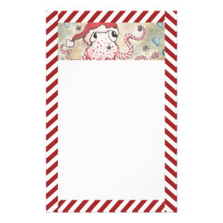 Candy Cane Octopus Stationery