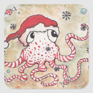 Candy Cane Octopus Stickers