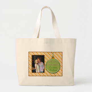 Candy Cane Orange Christmas Ornament Large Tote Bag