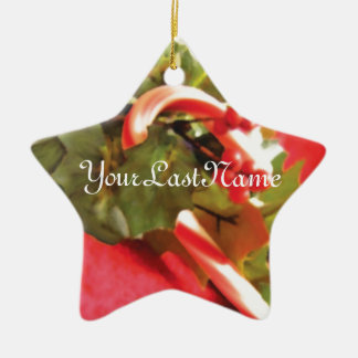 Candy Cane Ornament Ceramic Star with Holly Ivy