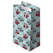 Candy Cane Owls Small Gift Bag