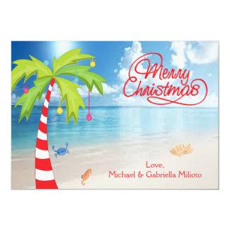 Candy Cane Palm Tree Beach Christmas Card