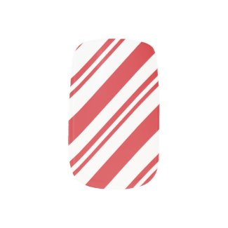 Candy cane pattern red and white Minx® nail art