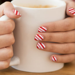 Candy cane pattern red and white minx nail art