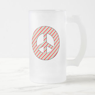 CANDY CANE PEACE SIGN FROSTED GLASS BEER MUG