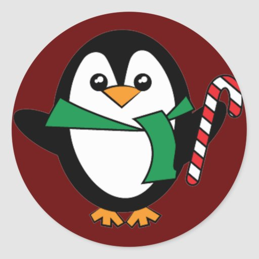 Candy Cane Penguin Round Stickers