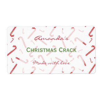 Candy Cane Personalized Christmas Treat Label
