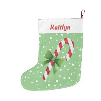 Candy Cane Personalized Large Christmas Stocking