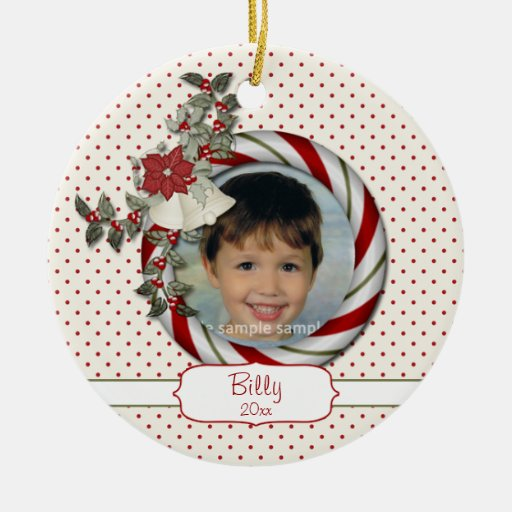 Candy Cane Photo Christmas Ornament