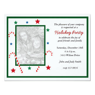 "Candy Cane Photo Christmas Party Invitation 4.25"" X 5.5"" Invitation Card"