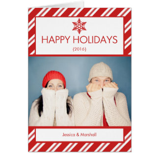 Candy Cane Photo Folded Christmas Card