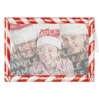 Candy Cane Photo Frame Christmas Portrait Greeting Cards