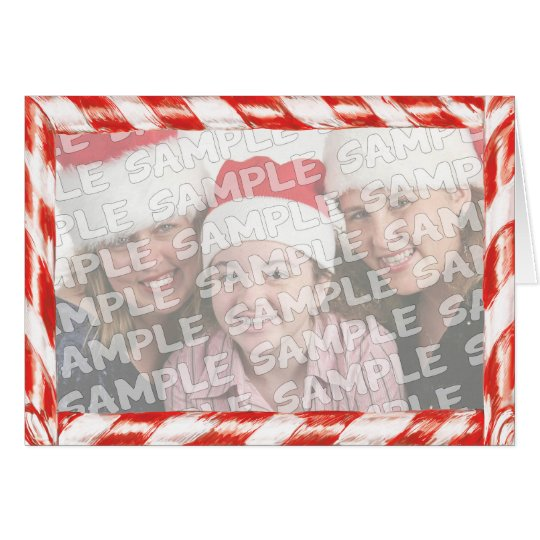 Candy Cane Photo Frame Christmas Portrait Card